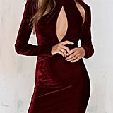 Clothink  Velvet High-Neck Dress