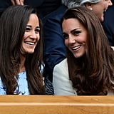 Kate and Pippa chatted during the 2012 Wimbledon Championships tennis tournament.