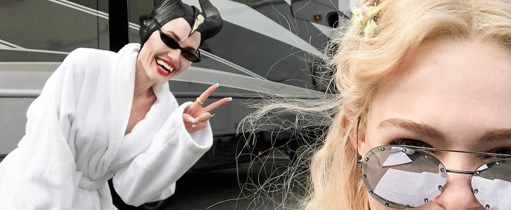 Angelina Jolie and Elle Fanning on Maleficent 2 Set May 2018