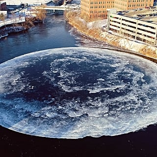 Spinning Ice Disk in Westbrook, Maine, January 2019