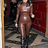 Kourtney Kardashian Wearing a Latex Balmain Outfit at Paris Fashion Week