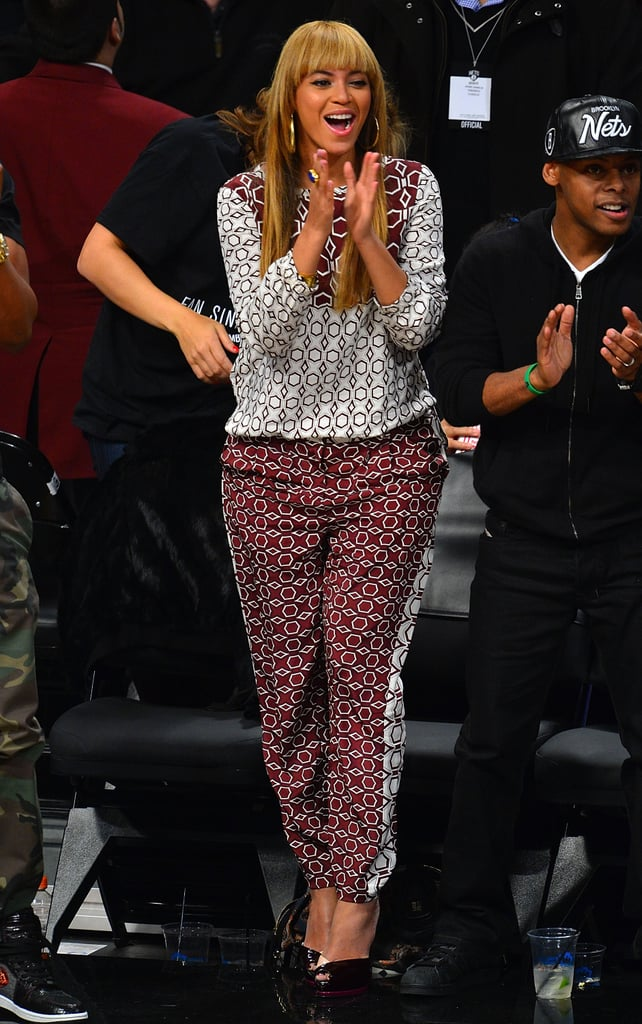 Beyoncé Knowles cheered on the Nets.