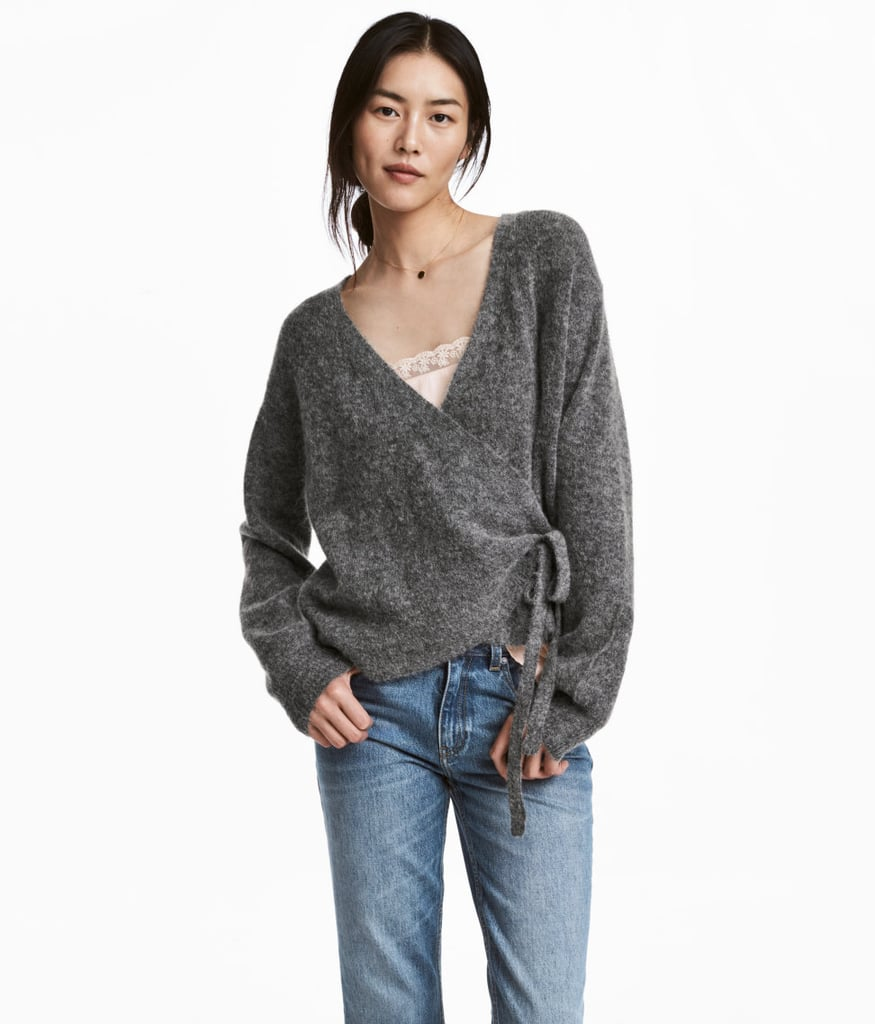 H&M Mohair-Blend Wrapover Cardigan