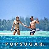 Toni Garrn led the way for Leonardo DiCaprio as the two explored their never-ending view of blue in Bora Bora.