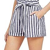 SweatyRocks Casual Elastic-Waist Striped Shorts