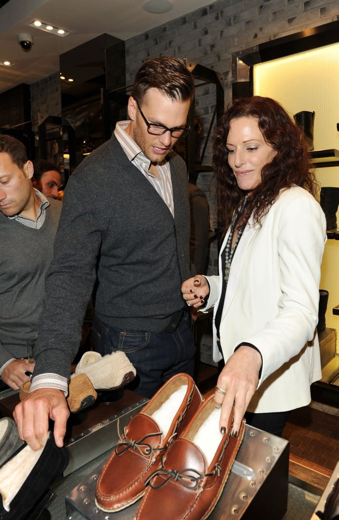 Tom Brady checked out some of the shoes at the opening of Ugg For Men in NYC.