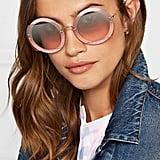 Miu Miu Cutout Round-Frame Glittered Acetate and Gold-Tone Sunglasses