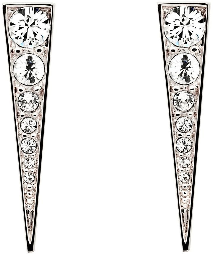 Melissa Odabash Rhodium Crystal Arrow Earrings