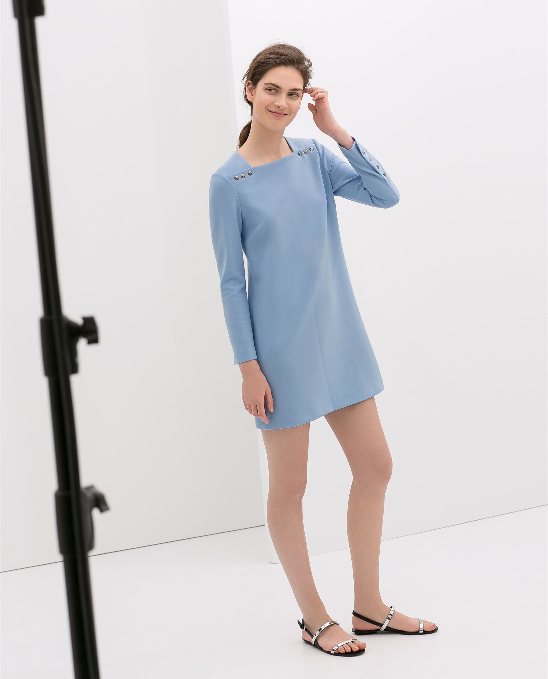 Zara Long-Sleeve Blue Dress With Buttons ($100)
