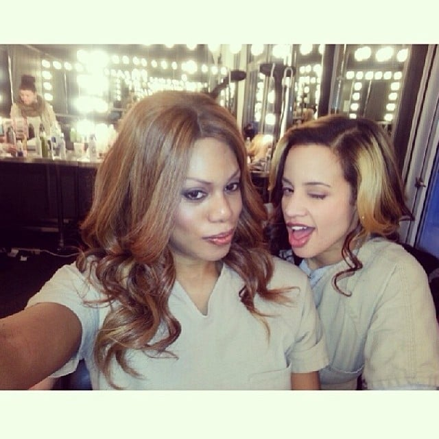 Laverne Cox and Polanco mess around in the makeup room. Source: Instagram user oitnb
