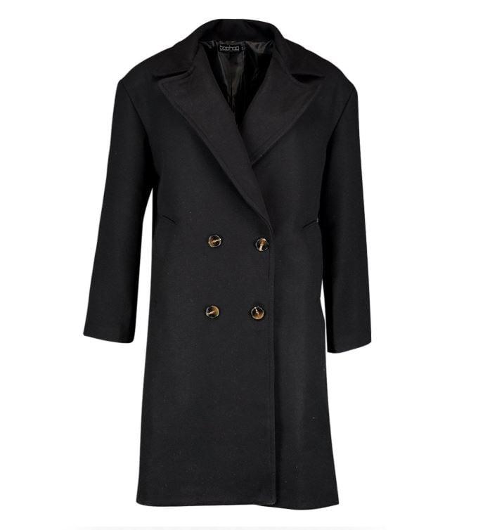 Boohoo Double Breasted Oversized Wool Look Coat ($46, originally $100)