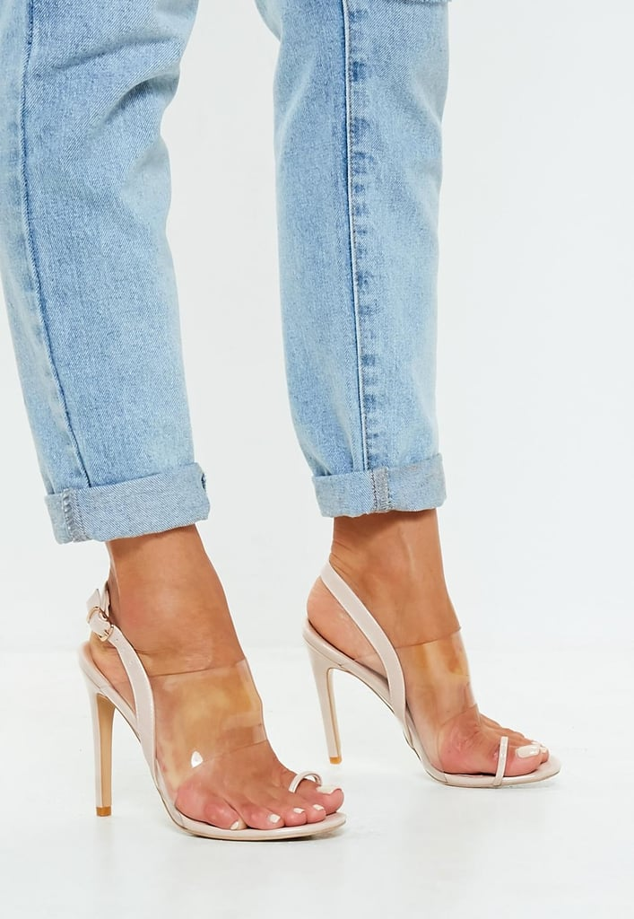 f7b5849ea437 Missguided Nude Clear Strap Heeled Sandals