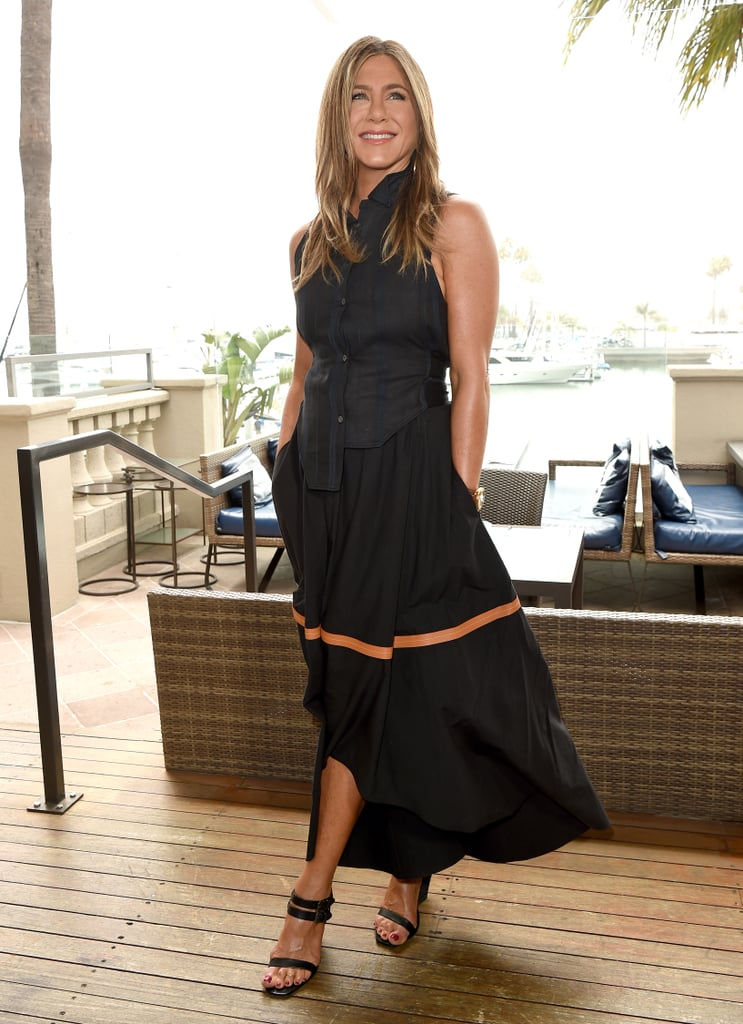 Jennifer Aniston Black Maxi Skirt With Stripe