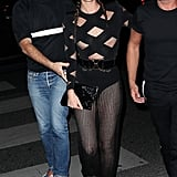 Sheer pants were a trend both tried.