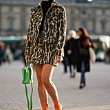 A Leopard Miniskirt, Matching Cropped Jacket, and Turtleneck Are the Foundation of a Solid Look