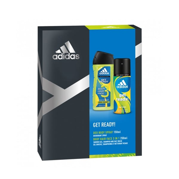 Adidas Get Ready! Body Spray + Shower Gel Pack ($10) If he is a gym addict, keep him clean and fresh with the Adidas Get Ready Pack — containing a masculine body spray and shower gel which he can keep in his gym bag.
