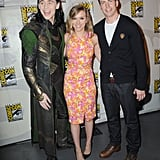 Scarlett Johansson posed for photos with Chris Evans and Tom Hiddleston at Comic-Con.