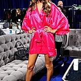 Alessandra Ambrosio showed off her pink silk robe at the Victoria's Secret Fashion Show.