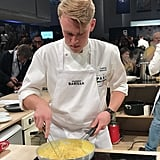 Here, Ludvig Saluvuo, the competitor from Sweden, is tossing his pasta with a pureed sunchoke sauce. Creating a smooth, velvety sauce from pureed vegetables and aromatics (like onions, herbs, and citrus) is an easy way to elevate your pasta.