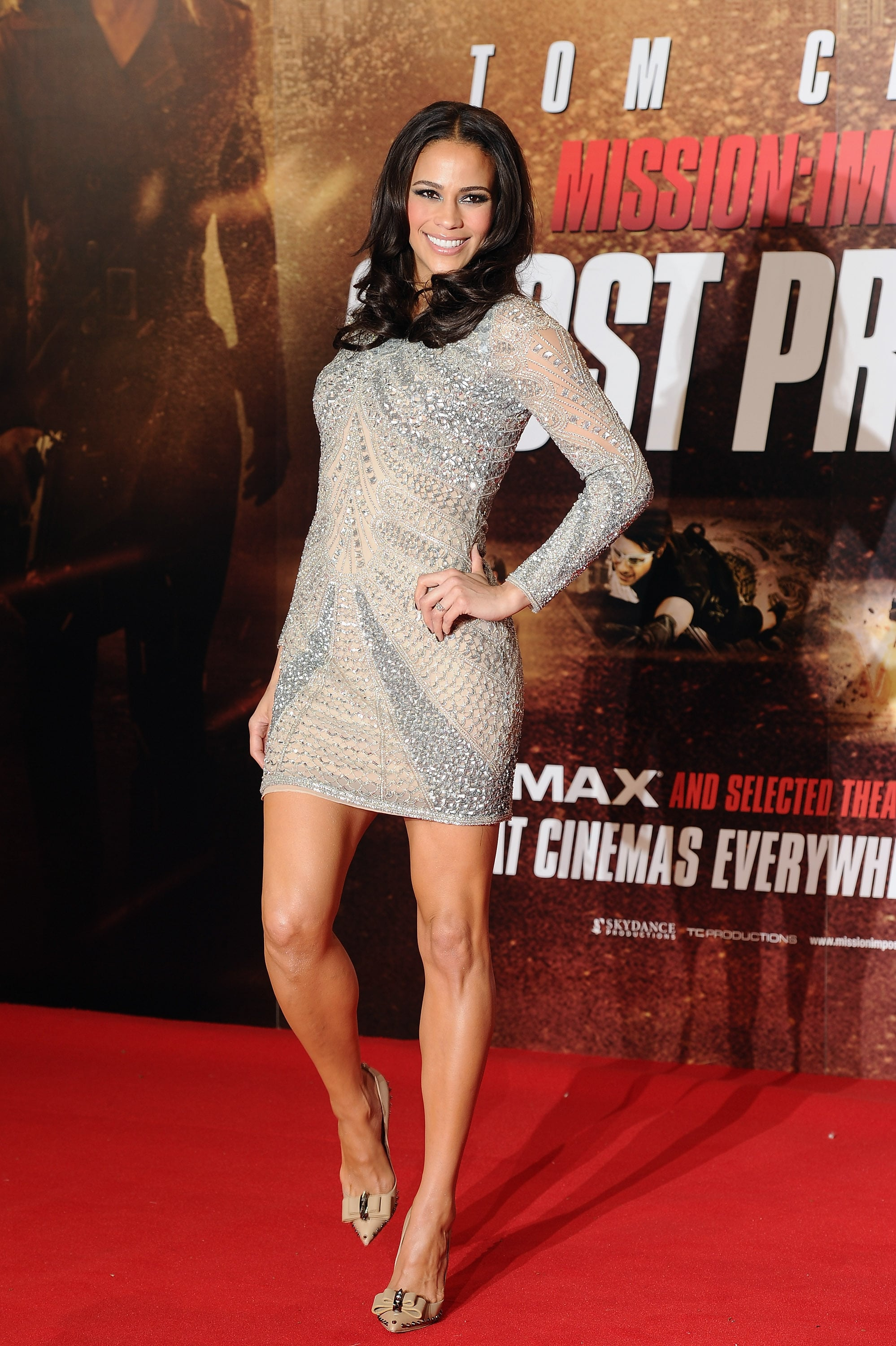 Paula Patton Wore A Sexy, And Sparkly, Silver Dress To The Uk  Tom Cruise Looks -9646