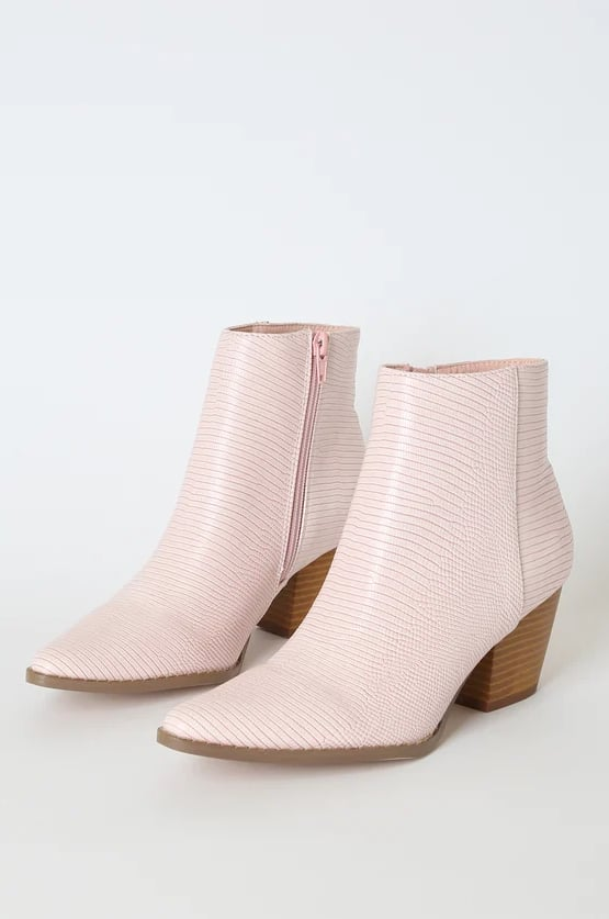 Spirit Blush Snake Pointed-Toe Ankle Booties