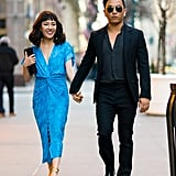Wearing a blue Prabal Gurung dress with the designer in 2018.