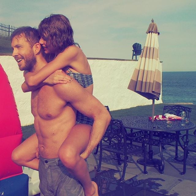 """Over the weekend, Taylor Swift and Calvin Harris celebrated the Fourth of July together. The cute couple shared adorable photos of each other on Instagram, which included barbecuing, piggyback rides, and more inflatable pool animals. They were also joined by a slew of Taylor's friends, including the Haim sisters, Gigi Hadid, and Joe Jonas. The partying came after a solid month of sweet moments for the couple, which included a group trip to London with Gigi, Joe, and Karlie Kloss and a fun pool day involving """"Swan Goals."""" Keep reading to see the snaps from the Fourth of July bonanza."""