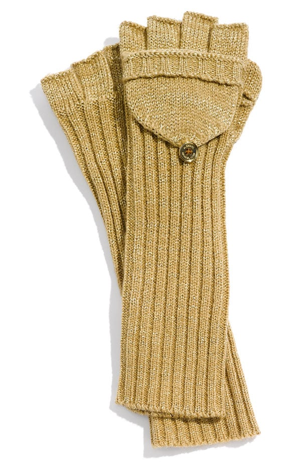 """The cool mustard yellow hue paired with the textured arm detail is a fashionable """"texting glove"""" mix. MICHAEL Michael Kors Metallic Convertible Fingerless Glove ($38)"""