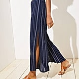 LOFT Beach Striped Crinkle Wide Leg Pants