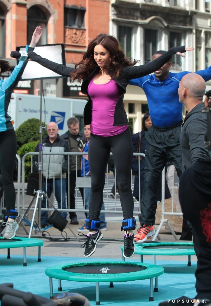 Megan Fox jumped on a trampoline.