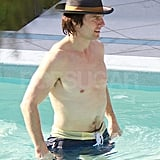 Tom Cruise swimming shirtless.
