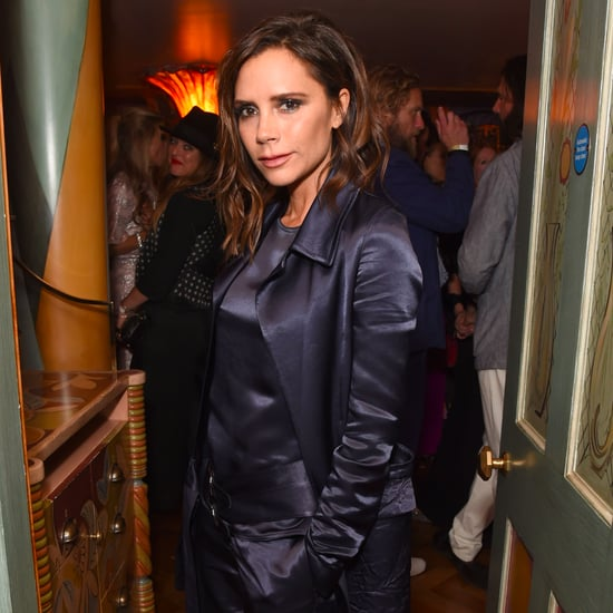 Victoria Beckham's Blue Satin Suit September 2016