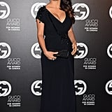 Salma Hayek donned yet another black Gucci creation — this time at a more dramatic length, with quite the revealing neckline.