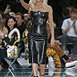 Donatella Versace at Versace's runway show during Milan Men's Fashion Week