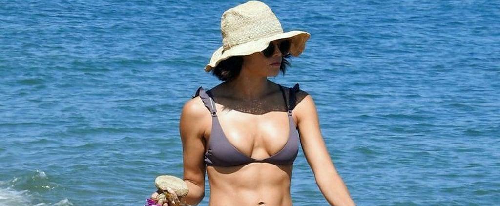 Jenna Dewan Gray Bikini With Ruffle Sleeves 2018