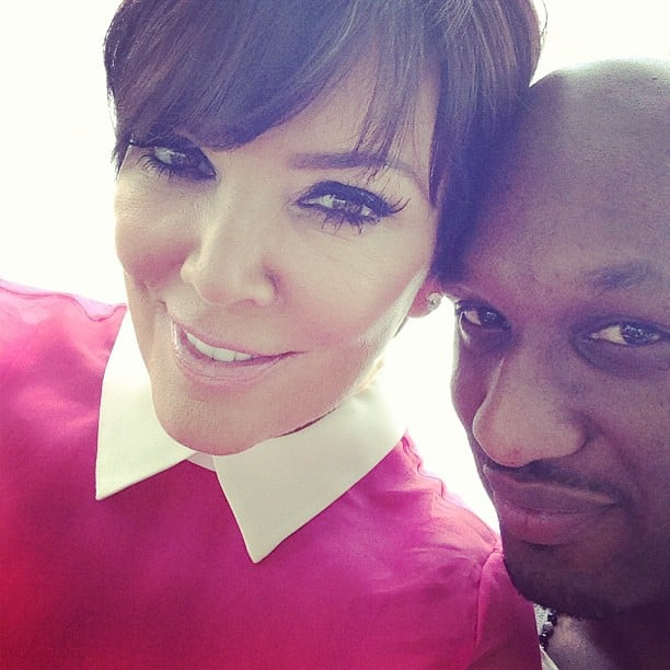 Kris Jenner snapped a picture with her son-in-law, Lamar Odom, at Kim Kardashian's baby shower. Source: Instagram user KrisJenner