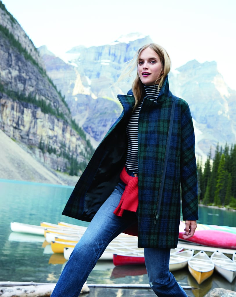 Play Up a Simple Plaid Coat By Adding a Splash of Color Around Your Waist
