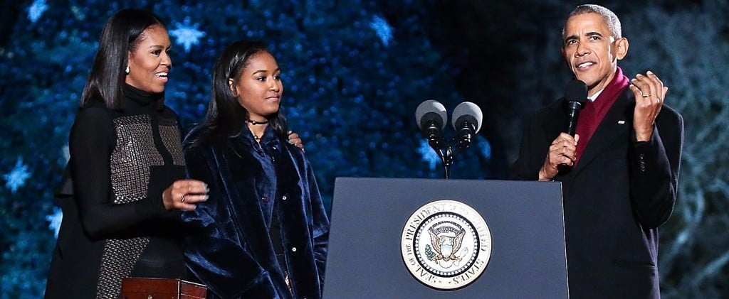 Sasha Obama's Coat Brought More Than Enough Cheer to the Tree Lighting