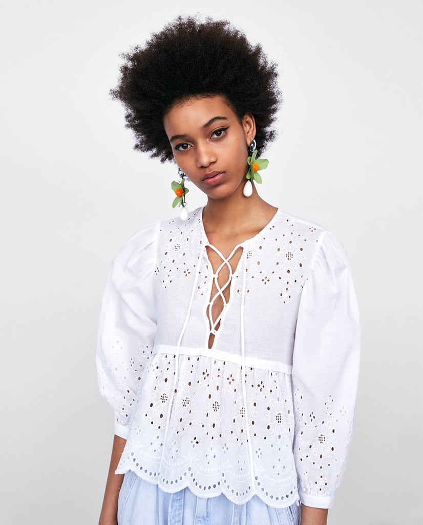 83e16b7422487 Zara Blouse With Cutwork Embroidery and Bow