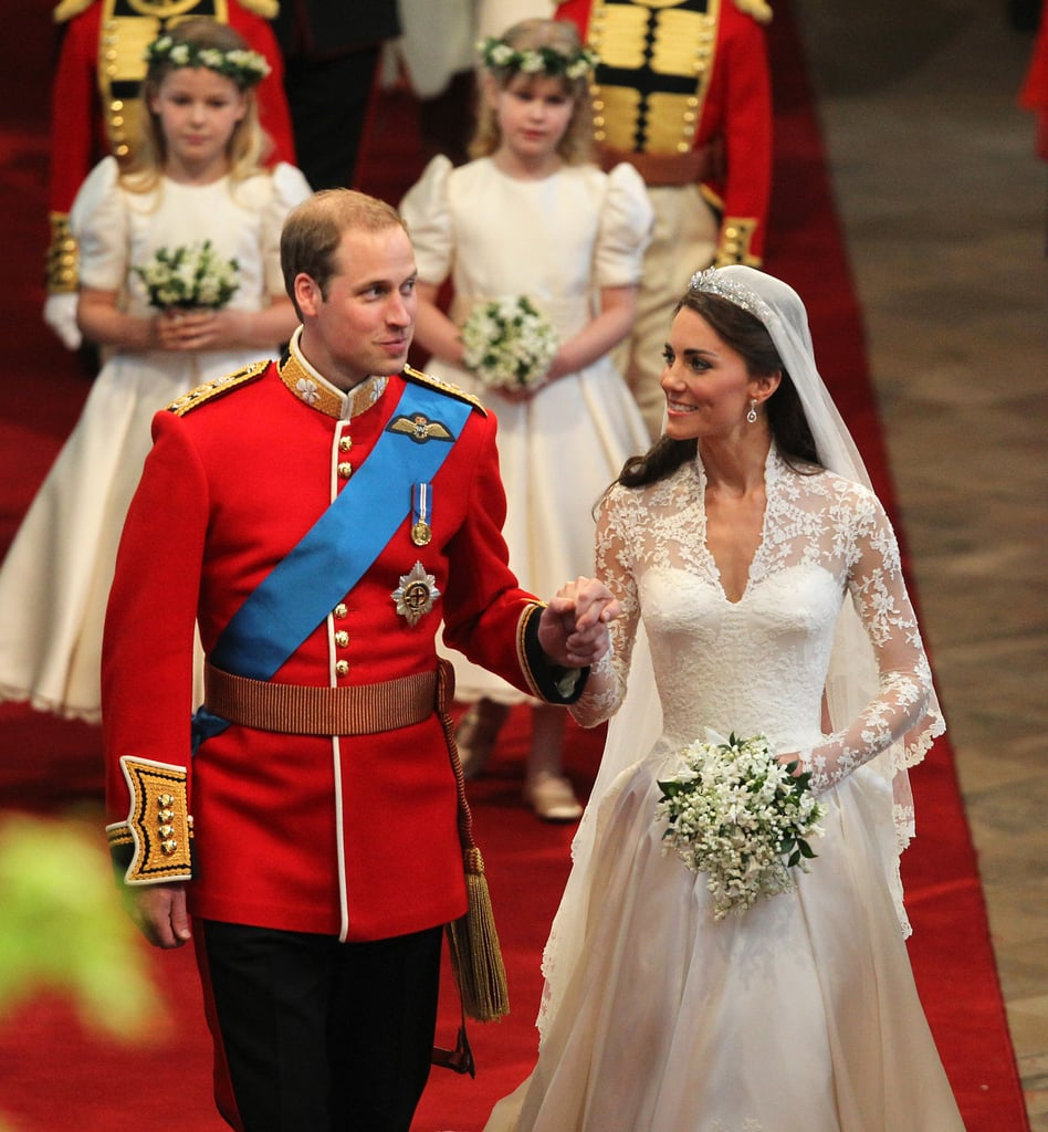 Prince William and Kate Middleton are living a real-life fairy tale, and it's not just because they're part of the royal family. After meeting at the University of St. Andrews in Scotland, where they were living at the same residence hall, the two fell head over heels for each other. Even though they took a brief break from 2007 to 2010, they eventually got their happily ever after (or at least their happy beginning) when they tied the knot in one of the biggest and most newsworthy weddings of our generation in April 2011. Six years and two children later, the pair still have that look of love whenever they're together. While they have had a number of sweet appearances over the course of their relationship, we can't help but notice the way Kate smiles at Will when he isn't looking. See the duchess's most royally in love moments ahead.