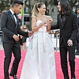 Sarah Jessica Parker laughed with her designer pals, Prabal Gurung and Olivier Theyskens, at the NYC Ballet Gala on Thursday.