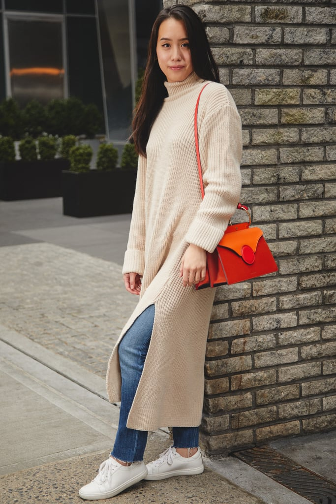 On Assistant Editor Marina Liao: Asos sweater, Reformation jeans, and Danse Lente bag.