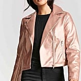 Forever 21 Metallic Zip-Front Moto Jacket