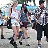 Kristen Stewart made her way around the grounds at Coachella's second weekend.