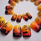 A spooky graveyard scene makes for the prefect Halloween nail art in the form of these easy-to-apply tips ($20).