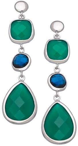 Andara Pear Green Onyx Blue Glass Earrings ($125)