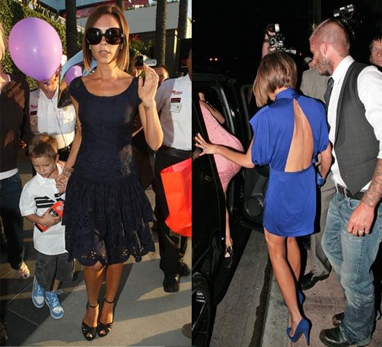 Victoria Beckham Celebrates her 34th Birthday in 2 Designer Dresses
