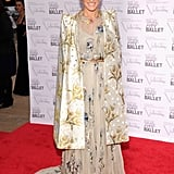 SJP was the belle of the 2012 NYC Ballet Gala mixing florals in an intricately embroidered Valentino gown, a blossoming satin cape, a crystal-embellished floral necklace, and glistening Christian Louboutin Love Me pumps.