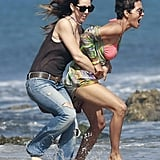 Halle Berry played in the surf with a friend.