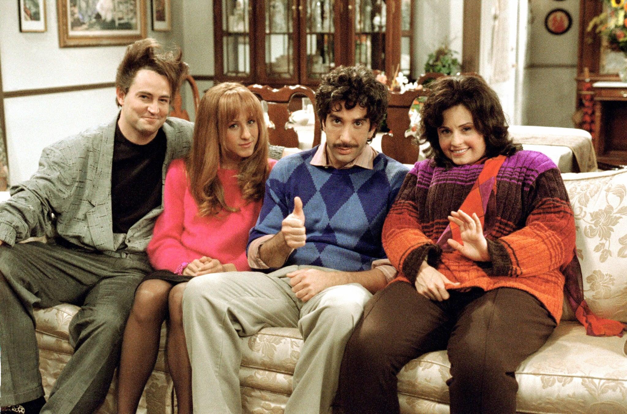 FRIENDS ، از چپ: متیو پری ، جنیفر آنیستون ، دیوید شویمر ، کورتنی کاکس ،